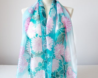 Silk scarf Chrysanthemum - pink and turquoise scarf - handpainted scarf - silk scarves - flowers scarf hand painted - turquoise foulard