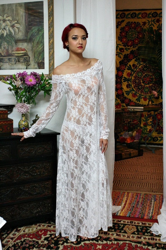 White Lace Off Shoulder Bridal Nightgown Wedding Lingerie