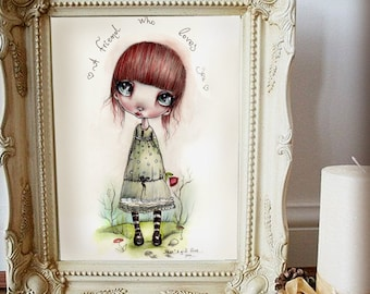 """LIMITED EDITION print signed numbered Chrishanthi' """"Miko'' lowbrow pop surreal big eyes ,  gothic art"""