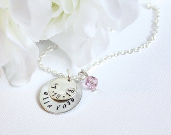 Personalized Mom Necklace, Sterling Silver Personalized Baby Child's Name and Birthdate Hand Stamped Engraved Round Charms, New Mom Jewelry