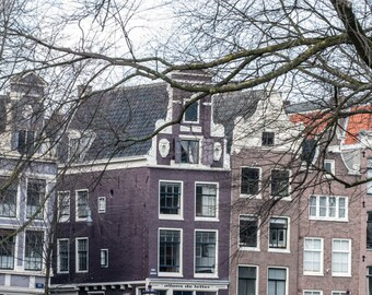 Amsterdam Photography, Canal Houses, Purple Wall Decor, Architecture Photograph, Fine Art Print, 5x7, 8x10