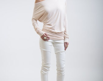Asymmetric Oversized Top / Party Blouse / Long Tunic / Loose Top / Casual Shirt / Long Sleeve Blouse / Marcellamoda - MB0035