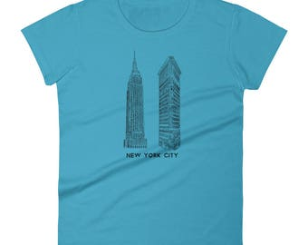 New York City Empire State and Flatiron Building NYC Manhattan For Fans of the Big Apple Women's short sleeve t-shirt