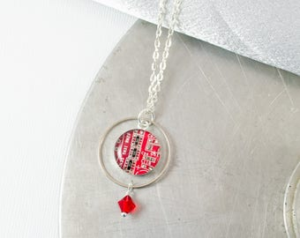 Circuit Board Necklace Red, Geometric Necklace, Wearable Tech, Motherboard Necklace, Engineering Gift, Tech Gift for Her, Geeky Red Necklace