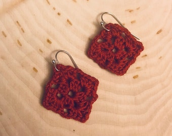 Red Granny Square Earrings
