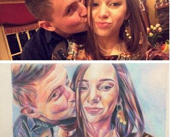 Custom Couples Portrait, Colored Pencil Portrait, 8x10, 9x12, 11x14