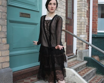 True vintage 1920s Silk chiffon and lace flapper dress