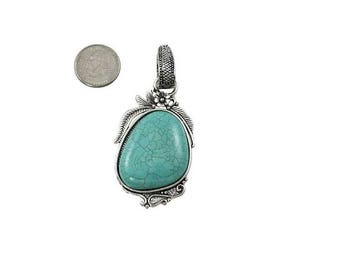 Large Turquoise Stone necklace Pendant