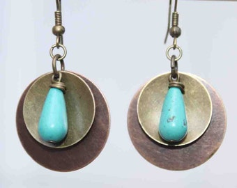 Turquoise Earrings Mixed Metal Earrings Boho earrings Boho jewelry Dangle Drop Earrings Bohemian Jewelry Gift for her Gift  for women