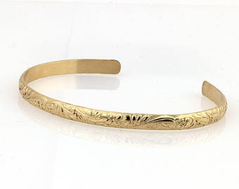 14K Solid Gold Cuff with Floral Pattern Made to Order