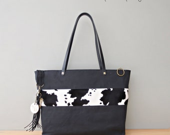 Womens Personalized Waxed Canvas Tote with Faux Cow Fur Accent, Monogrammed Tote, Black and White Cow Print Zipper Tote, Engraved Initial