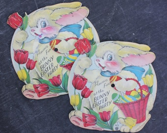 Vintage 1948 The Bunny Easter Party Record, Die Cut Pictorial Bunny with Basket, ONE RECORD