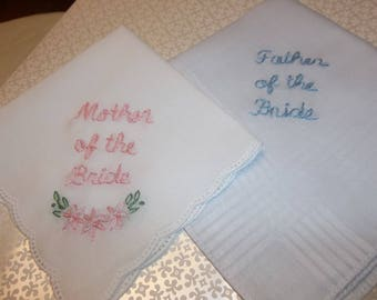 gift for parents , wedding handkerchief, set of 2, mother of bride, father of bride / groom, hand embroidered, dad gift, blush pink, favors