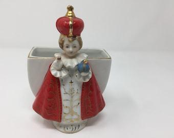 Vintage Infant of Prague Figurine and Planter, 5 1/2 Inches High, Lefton, Japan