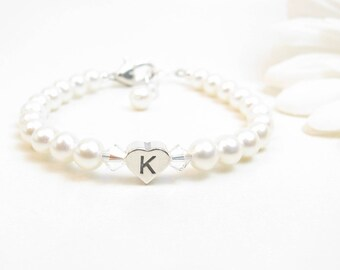 Baby Bracelet - Baby Girl Bracelet - Child Pearl Bracelet - Child Initial Bracelet - Flower Girl Bracelet - Personalized Baby Bracelet