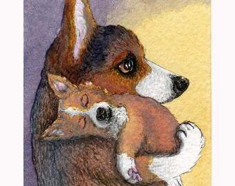 Chiot de chien Welsh Corgi rêver reproduction d'art signée de 8 x 10 qu'il avait eu une journée difficile au travail jouant qui dort rêve mère et enfant Susan Alison
