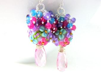 Gemstone Cluster Earrings, Colorful Floral Earrings, Statement Earrings, Pink Quartz Amethsyt Blue Jade Earrings, Pastel Lampwork Earrings
