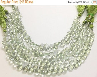 Exclusive Quality Green Amethyst faceted Briolette Heart 6.50 - 7 mm approx , 8 inch strand