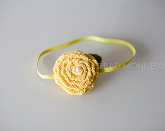 Yellow headband, Yellow baby headband, newborn headband, Easter headband, baby headband, baby girl headband, newborn Photo Prop