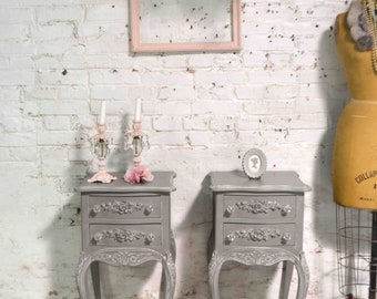 Painted Cottage Chic Shabby Romantic French Night Table NT970