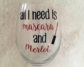 Mascara and Merlot Stemless Wine Glass