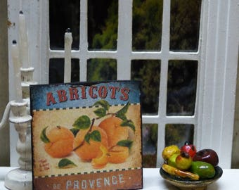 """PROVENCE APRICOTS"" Miniature wall plate - 1/12 scale - Dollhouse Miniature kitchen decor accent"