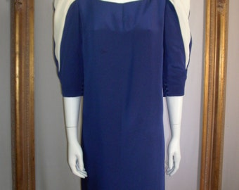 Vintage 1980's Pauline Trigere Blue ans White Dress - Size 14