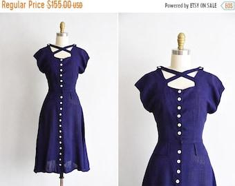 ON SALE 1950s Midnight Sky dress/ vintage 50s daydress / linen cutout dress