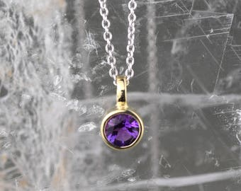 Simple Amethyst Necklace | Amethyst Gold Necklace | February Birthstone Pendant| White Gold Amethyst Necklace | Amethyst Solitaire Pendant