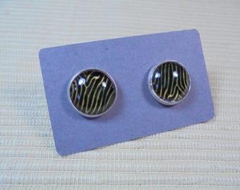 Earplugs, animalprint, cabochon glass, 12 mm