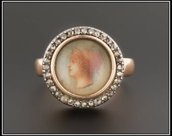 Antique Painted Portrait Ring | Hand Painted Portrait Ring with Diamonds | Antique Gold Ring | Victorian Portrait Ring | Victorian Ring
