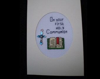 Lovely Handmade Cross Stitch HOLY COMMUNION Card