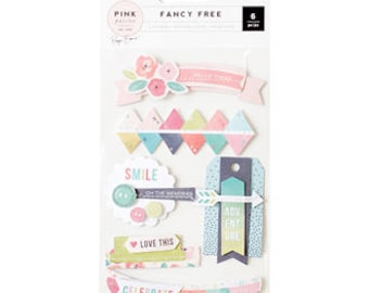 American Craft Stickers - Pink Paislee-Fancy Free Layered Stickers