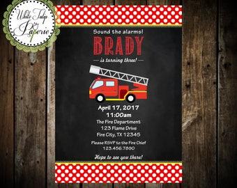 Firetruck Invitation, Firetruck Birthday Invitation, Firetruck Chalkboard Invitation, Fire Truck Invitation, Firetruck Digital Invitation