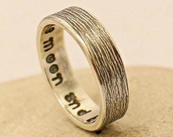 Personalized Sterling Silver Ring - Women's Men's Silver Band - Wedding Band - Engraved - Handmade - Hammered - Promise Engagement Band