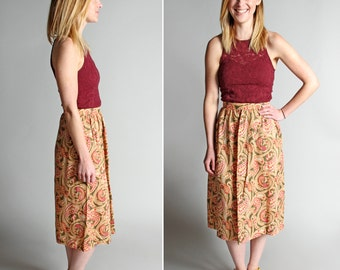 Vintage Pretty Paisley Summer Skirt - Tan Green Pink Long Gathered Full A-line Midi Cotton Hippie Boho Bohemian - Size Small