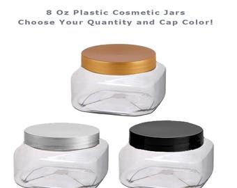 8 Oz SQUARE Clear JARS Empty Plastic Cosmetic Containers PET Jars with Lids White, Black or Silver, Lotions, Beads, Scrubs, Aromatherapy