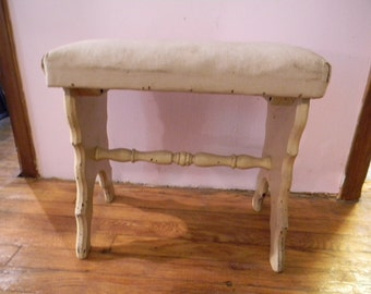 Vintage Antique Victorian Painted Bench Stool Seat