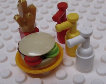 Hamburger Fries with Ketchup Mustard and Mayo made of plastic toy bricks