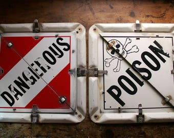 Vintage Metal Truck Placards for Dangerous Goods - Poison, Radioactive, Etc. - Last One!