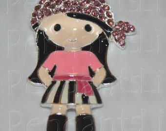 Pirate girl Rhinestone Pendant 42mm