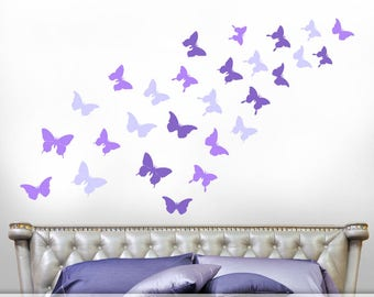 Ultra Violet Set Of Realistic Butterfly Silhouettes, Butterfly Decals,  Butterfly Decor For Girls Room, Butterflies Wall Decals [018a5v]