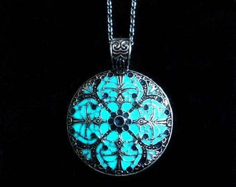 Mandala Necklace Glow In The Dark Necklace Pendant