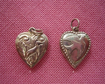 Vintage Sterling Silver Puffy Heart Charm with Bird Motif