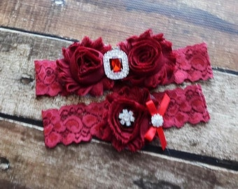 ON SALE 100+ Colors, Wedding Garter Belt, Garter Wedding, Deep Red Garters, Burgundy Garter, Red Garter, Custom Garter, Garter Sets