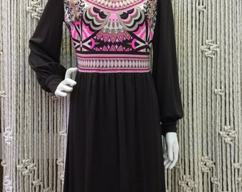 Ultra cool psychedelic 1970's designer Mr. Dino brown and pink patterned disco era dress