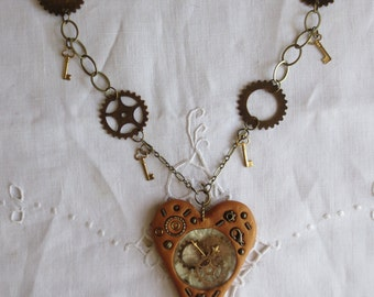 Steampunk Funky Heart Necklace