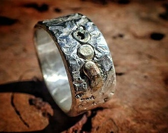 Fused Gold on Silver Ring / Band US Size 13