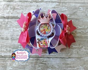 Princess Hair Bows, Princess Bows,Pink Princess Hair Bow,Princess Birthday,Princess Party,Princess