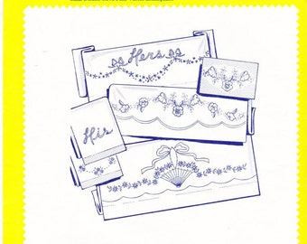 Vintage Aunt Martha's Hot Iron Transfers 3735, His & Hers Basket RETIRED